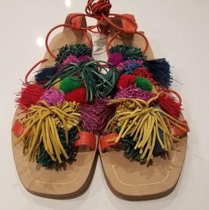 Zara Pom Pom Sandals